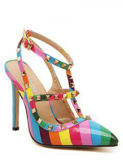 Striped Pattern Colour Block Rivets Pumps - 38