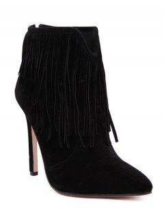 Fringe V-Shape Zipper Ankle Boots - Black 40
