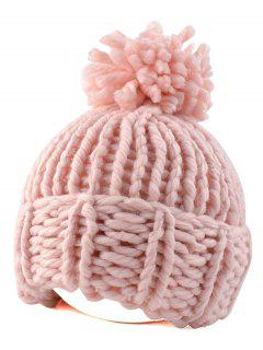 Big Ball Flanging Coarser Knit Hat - Pink