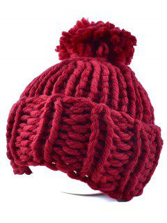 Big Ball Flanging Coarser Knit Hat - Wine Red