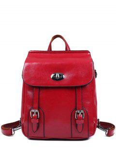 Strap Buckles PU Leather Backpack - Red