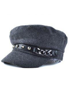 Rivet PU Belt Felt Newsboy Hat - Deep Gray