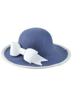 Britain Big Bowknot Felt Floppy Hat - Blue