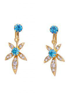 Rhinestone Artificial Crystal Leaf Clip Earrings - Blue