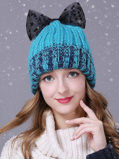 Heart Lace Bowknot Flanging Knitted Beanie - Lake Blue