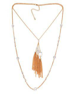 Faux Crystal Fringe Tie Sweater Chain - Copper Color