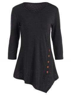 Buttoned Three Quarter Sleeve Blouse - Black S