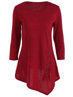 Buttoned Three Quarter Sleeve Blouse - Wine Red L