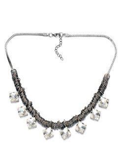 Square Rhinestone Circle Necklace - Silver