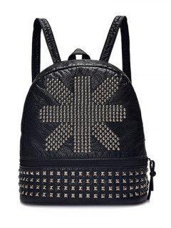 Punk PU Leather Rivet Backpack - Black