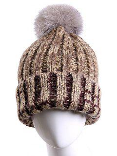 Fuzzy Ball Flanging Knitted Beanie - Light Coffee
