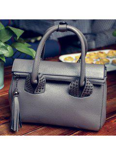 PU Leather Tassel Rivet Tote Bag - Silver
