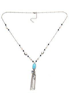 Beaded Leaf Tassel Necklace - Lake Blue