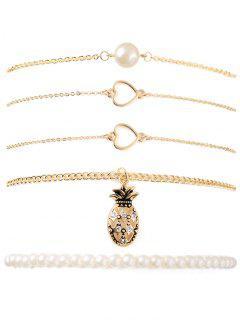 Faux Pearl Pineapple Heart Bracelet Set - Golden