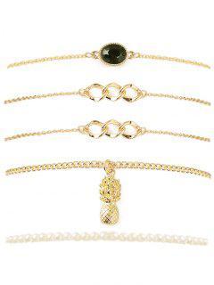 Pineapple Faux Gem Chain Bracelet Set - Golden