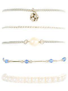 Faux Pearl Beaded Rhinestone Bracelet Set - Silver