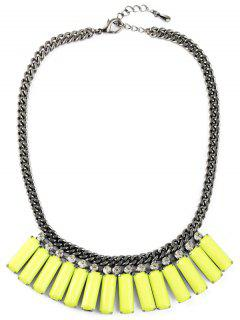 Faux Gemstone Geometric Necklace - Yellow