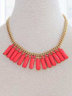 Faux Gemstone Geometric Necklace - Red