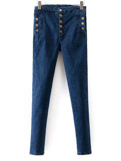 Buttoned Skinny Jeans - Blue 26