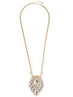 Collar Pendiente Oval De Imitación De Cristal De Aleación - Dorado