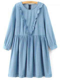 Frilled A Line Denim Dress - Light Blue M