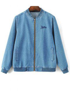 Embroidered Zipped Denim Jacket - Denim Blue S