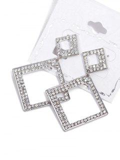 Alloy Rhinestone Geometric Drop Earrings - Silver