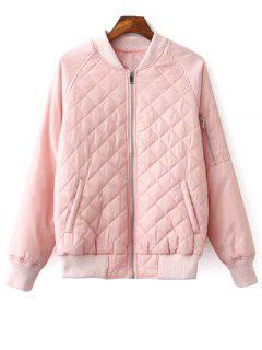 Raglan Sleeve Argyle Padded Bomber Jacket - Pink L