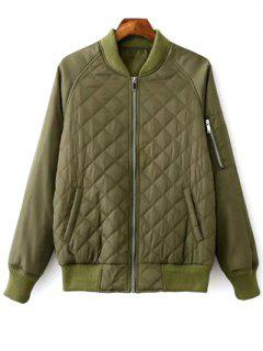 Raglan Sleeve Argyle Padded Bomber Jacket - Army Green M