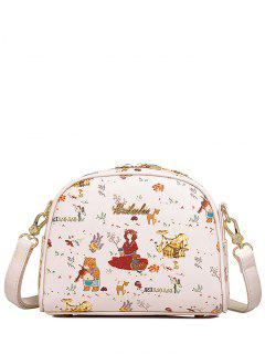 Cartoon Printed Letter Embellished Crossbody Bag - Off-white