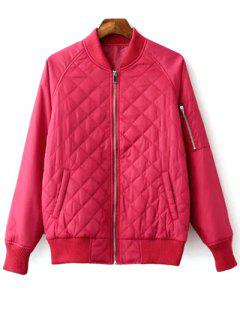 Raglan Sleeve Argyle Padded Bomber Jacket - Peach Red S