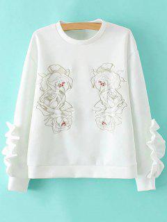 Ruffles épissage Sweatshirt - Blanc M