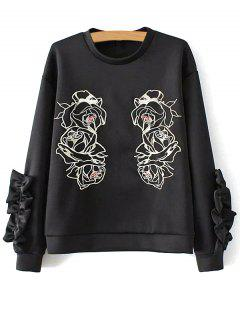 Ruffles Spliced Embroidered Sweatshirt - Black S