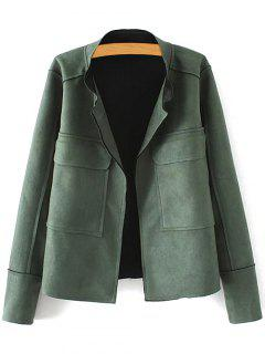 Plus Size Suede Jacket - Green Xl