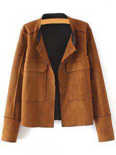 Plus Size Suede Jacket - Coffee Xl
