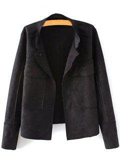 Plus Size Suede Jacket - Black 3xl
