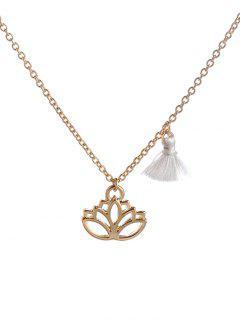 Vintage Tassel Lotus Flower Pendant Necklace - Golden