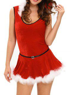 Santa Claus Bodysuit With Detachable Skirt - Red S
