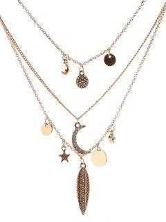 Star Moon Disc Leaf Necklace - Platinum
