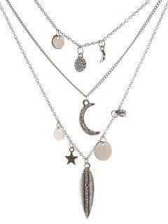 Collar De La Hoja De Disco Estrella De La Luna - Plata