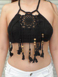 Halter Tassels Knitted Crop Top - Black