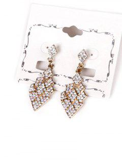 Layered Rhinestone Geometric Drop Earrings - Golden