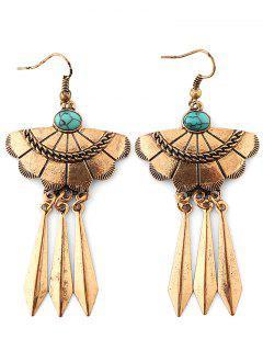 Fan Shape Triangle Earrings - Copper Color