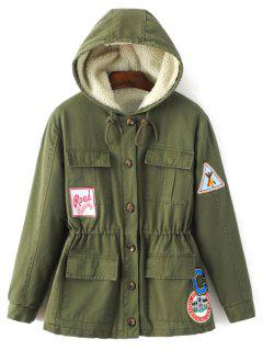 Fleece Parka Coat - Army Green M