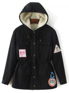 Fleece Parka Coat - Black S