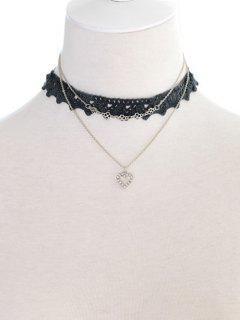 Faux Lace Heart Rhinestone Choker Set - Black