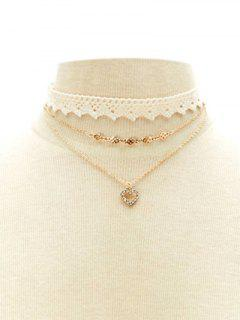 Faux Lace Heart Rhinestone Choker Set - White