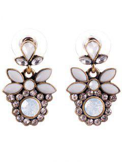 Faux Gem Alloy Leaf Drop Earrings - Inferior Gold