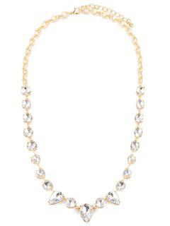 Water Drop Faux Collier Gem - Or