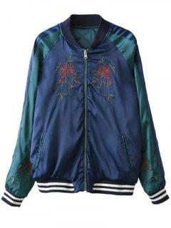 Embroidered Reversible Bomber Jacket - Blue And Green S